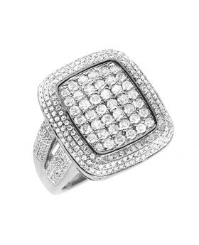Men's 10K White Gold Square 3D Real Diamond Pinky Ring 2.45 ct