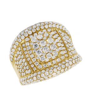 14K Yellow Gold Two Tier Cluster Diamond Pinky Ring 4.33CT