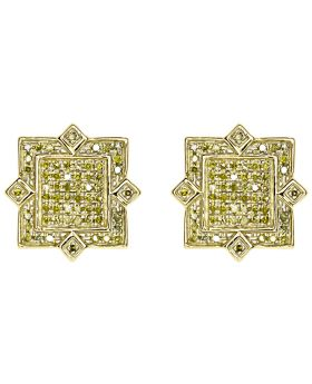 Pave Canary Diamond Star Designer Earrings in 10k Yellow Gold (0.50 ct)