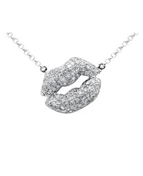 10K White Gold Kissing Lips Diamond Pendant with 16 inch Chain (0.50ct)