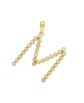 """10K Yellow Gold Real Diamond Initial """"M"""" Letter Pendant 0.37 CT 1.1"""""""