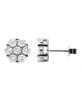 Ladies 10K White Gold Cluster Flower Real Diamond Studs Earrings 2.0CT
