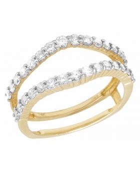 14K Yellow Gold Real Diamond Jacket Ring Guard Enhancer 3/4 CT