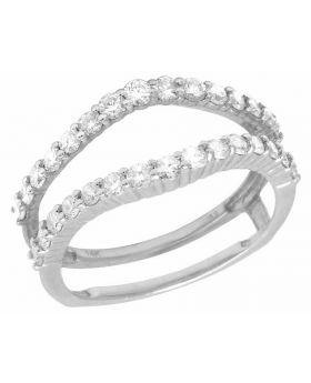 14K White Gold Real Diamond Jacket Ring Guard Enhancer 3/4 CT