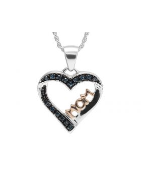 Ladies Two-Tone Gold Finish MOM Heart Real Blue Diamond Pendant 0.15 ct