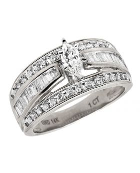 14K White Gold Marquise Baguette Genuine Diamond Engagement Cluster Ring 1 ct