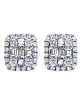 18K White Gold 1.25CT Diamond Baguette Halo Stud Earrings 11MM