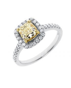 14k White Gold Canary Cushion Cut Diamond Solitaire Halo Engagement Ring (1.45 ct)