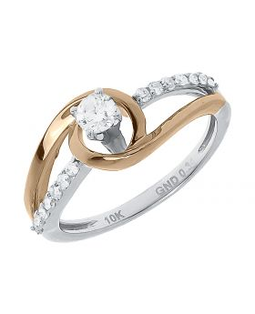 Two Tone Solitaire Swirl Engagement Ring (0.34 ct)