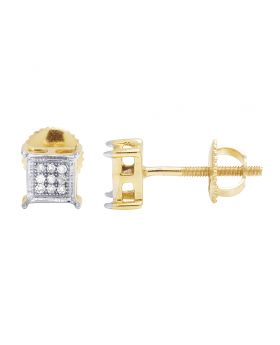 Unisex 10K Yellow Gold Diamond 5MM Square Stud Earrings 0.10 Ct