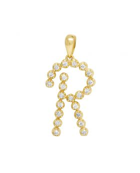 "10K Yellow Gold Real Diamond Initial ""R"" Letter Pendant 0.30 CT 1"""