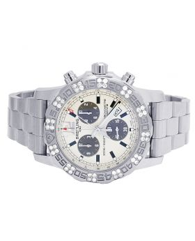 Custom Breitling Colt II A7338710-BB49-SS Chronograph Diamond Watch 1.5 Ct