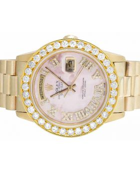 Rolex President 18K Yellow Gold Day-Date 36MM Pink Dial Diamond Watch 4.0 Ct