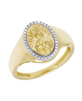 10K Yellow Gold Men Oval Mother Mary Diamond Ring .1CT 15MM