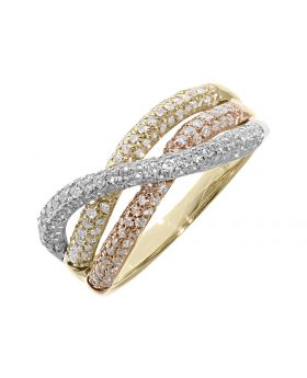 Fancy Lace Diamond Band Ring in 3-tone 14k (0.75ct)