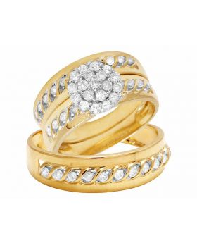 10K Yellow Gold Real Diamond Trio Bridal Ring Set 1.0ct 8MM
