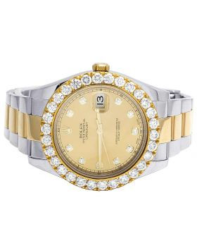 Rolex Datejust II 18K/ Steel 116333 Champagne Dial Diamonds Watch 6.0 Ct