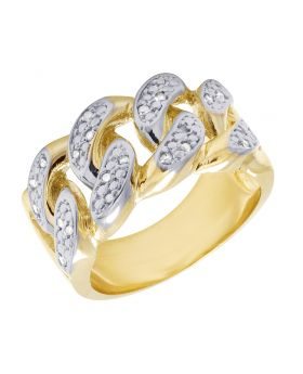 10K Yellow Gold Real Diamond Cuban Link Ring Band 0.10 CT 12MM