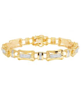 Men's 14K Yellow Gold Diamond 11MM Designer Bracelet 1.5 CT 8.5""