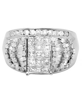 10K White Gold Princess Diamond Cluster Solitaire Ring with Baguette Accents 2.0CT