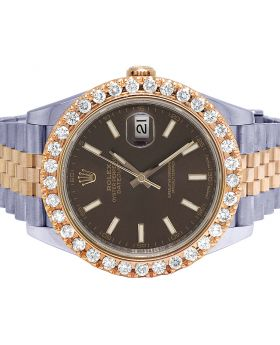 Rolex Datejust II 41MM 126331 18K Everose Steel Diamond Watch 3.75 Ct