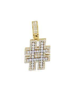 10K Yellow Gold Real Diamond Hashtag Sign Pendant 2 CT 1.5""