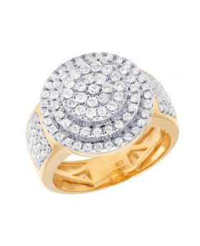 10K Yellow Gold Diamond Round Three Tier Step Pinky Ring 1.75 CT 18MM