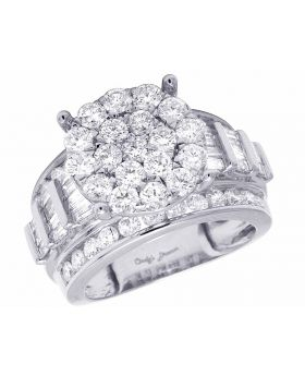 10K White Gold Real Baguette Diamond XL Cluster Ladies Engagement Ring