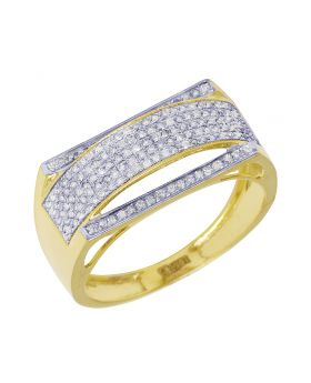 Men's Yellow Gold Curve Pave Diamond Ring Band 0.4 CT