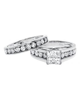 10k White Gold Princess Round Diamond Bridal Ring Set (2.0 ct)