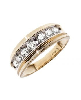 6mm Mens Yellow Gold Band (0.75 ct)