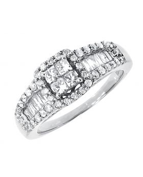 10k White Gold Princess Round Diamond Engagement Ring (0.99 ct)