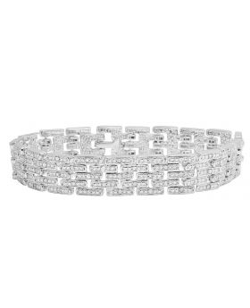 Ladies White Gold Finish Brass Link Designer Diamond Bracelet 1.0CT
