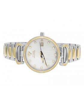 Ladies Aqua Master Two Tone White MOP Dial Diamond Watch W#359 0.30 Ct