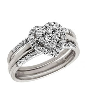 14K White Gold Genuine Diamond Center Heart Cluster Engagement Ring Set .50ct