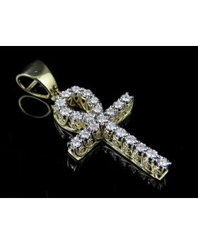Men's 10K Yellow Gold Real Diamond 3D Miracle Ankh Cross Pendant .62ct 1.5""