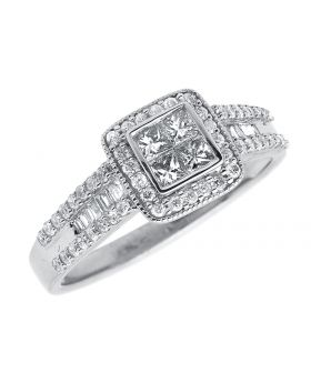 Vintage Inspired Princess Cut Halo Engagement Ring in White Gold (0.59 ct)
