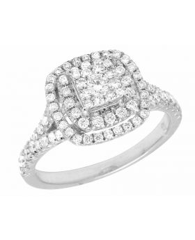 Ladies 14K White Gold Genuine Diamond Split Shank Engagement Ring 1.0ct