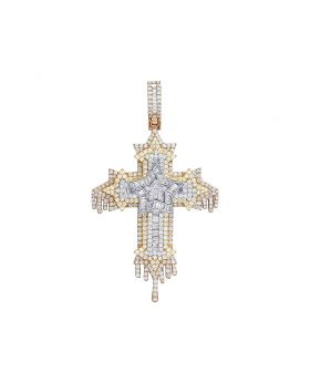 Tri-Color 4.5CT Diamond Baguette Star Dripping Cross Pendant 2.9""