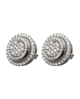 14K White Gold Pave Real Diamond Stud Earrings 1.75ct