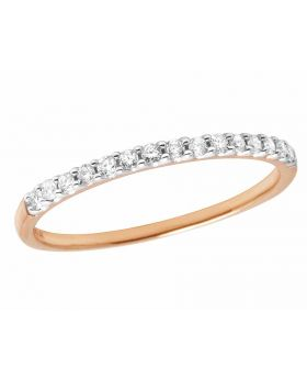 Ladies 14K Rose Gold Real Diamond Band Enhancer Ring 0.16ct 2MM