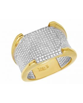 10K Yellow Gold Real Diamond Men's Pave Iced Wedding Band Ring 1.5CT