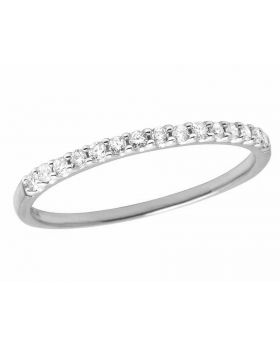 Ladies 14K White Gold Real Diamond Band Enhancer Ring 0.16ct 2MM