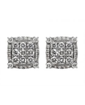 14K Yellow Gold Real Diamond Square Stud Earrings 1.75ct