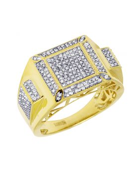 Mens Yellow Gold Square Claw Design Pave Ring 0.65 CT