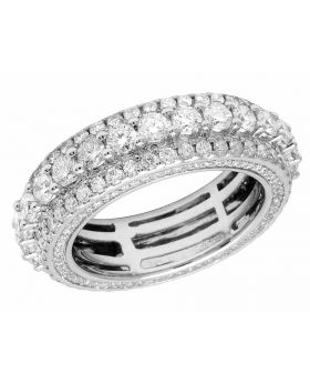 Men's 14K White Gold 3D Genuine Diamond Eternity Ring Band 5.0Ct 7MM