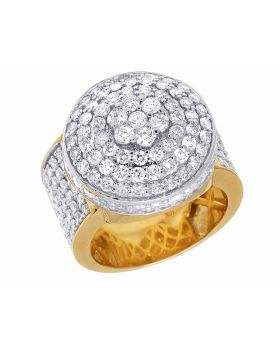 10K Yellow Gold Real Diamond Round Cluster Men's Ring 4CT