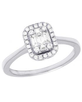 14K White Gold Baguette Diamond Solitaire Engagement Ring 0.40 Ct 9MM