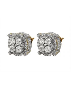 10K Yellow Gold 3D Round Real Diamond Stud Earrings 2.5ct