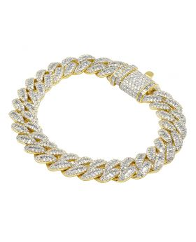 10K Yellow Gold Baguette Diamond 12MM Miami Cuban Bracelet 11.85CT 8.5""